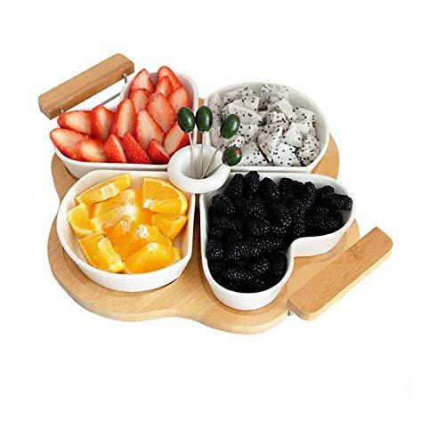 YuuHeeER Bandeja de cerámica con trébol de cuatro hojas de fruta, 4 piezas