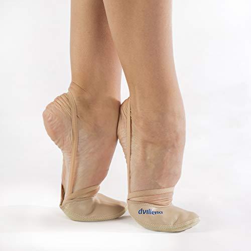 dvillena - Modelo Entrenamiento Beig | Famosa Marca de Punteras de Gimnasia Rítmica Niña y Mujer | Las Puntas que usan grandes Gimnastas Mundiales | Bailarinas Aérobica Deporte Danza Zapatillas Ballet