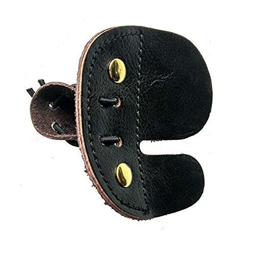 Pestañas de dedo de piel de vaca tiro con dedo protector de arco de caza con arco protector de dedos