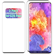 S20 Plus Screen Protector Tempered Glass for Samsung Galaxy S20 Plus Case Friendly 9H Hardness 3D Curved HD Coverage [Fingerprint ID Enabled] [Black] [2-Pack]