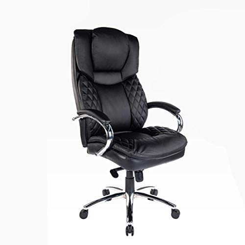 Halter Executive Bonded Leather Office Chair with High Back, Swivel Motion, Adjustable Height, Caster Wheels, and Lumbar Support for Ergonomic Computer Desk Seating, Black