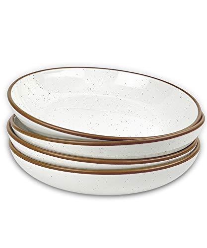 Mora Ceramic Large Pasta Bowls 30oz Set of 4 - Serving Salad Dinner etc PlateWide Bowl - Microwave Oven Dishwasher Safe Kitchen Dinnerware - Modern Porcelain Stoneware Dishes Vanilla White