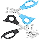 2 Pieces Pill Splitter Scissors Pill Scissors Cutter with Stainless Steel Blade and Ergonomic Handle for Accurate Dosage of Small Large Pills Tablets Vitamins Elderly Kids Pets Travelling Favors