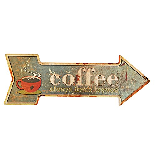 New Deco Coffee Metal Tin Sign With Rustic Retro Arrow Decorative Sings For Cafe Pub 16.9x6 inches