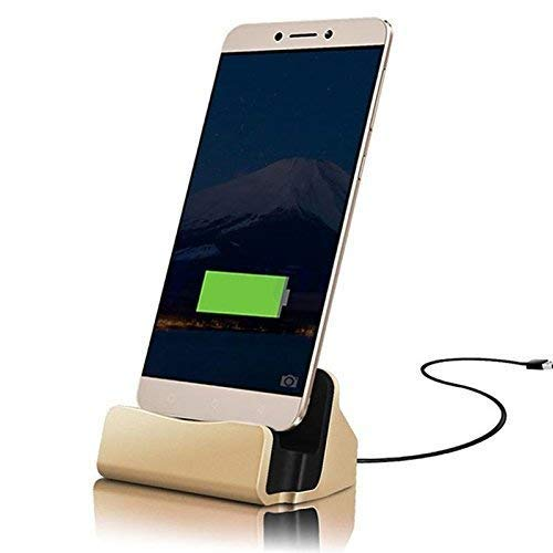 ONX3 Gold Desktop-Ladegerät Micro-USB-Basisstation Datensynchronisation Aufladen Dockingstation Kompatibel mit Wiko Fever Special Edition