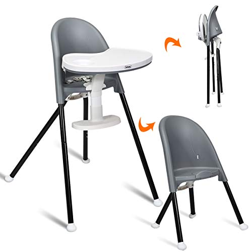 INFANS High Chair Folding, 3 in 1 Convertible Highchair with Detachable Double Trays, 3-Point Harness, Adjustable Footrest, Non-Slip Feet, Adjustable Legs for Baby & Toddler (6 Months & up) (Grey)