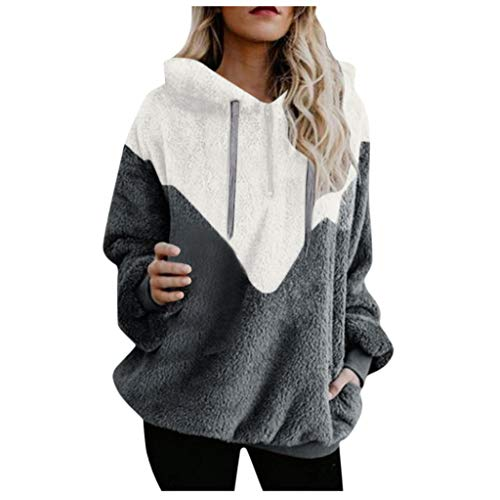 Mujer Caliente y Esponjoso Tops Chaqueta Suéter Abrigo Jersey Mujer Otoño-Invierno Talla Grande Hoodie Sudadera con Capucha riou (2-Coffee, XL)