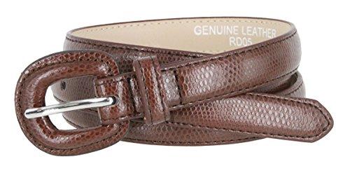 Womens Skinny Snakeskin Embossed Genuine Leather Dress Belts 3/4 or 19mm