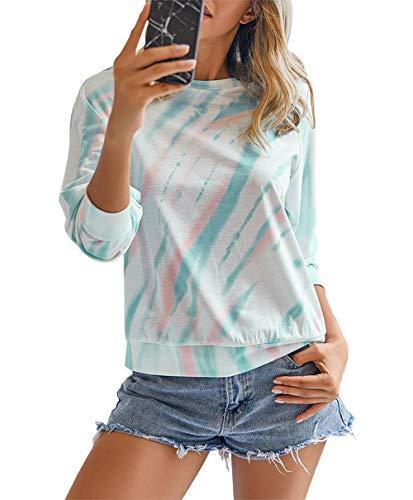 KIRUNDO 2020 Women's Solid Sporty Sweatshirt Crew Neck Long Sleeves Pullover Ribbed Cuffs Hems Sweaters Outwear (X-Large, Tie Dye Green)