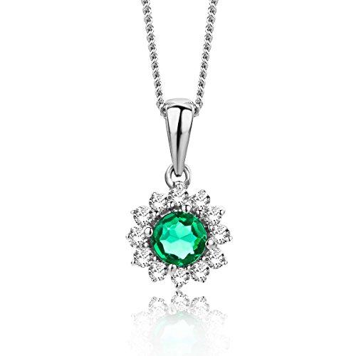 Miore Damen Smaragd Halskette Weißgold 9KT (375) mit Diamant Brillanten 0.08 ct - 45 cm