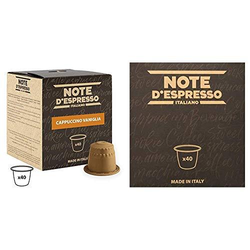 Note D'Espresso - Cápsulas de capuchino de vainilla instantáneo, 6,5g (caja de 40 unidades) Exclusivamente Compatible con cafeteras Nespresso + Cápsulas de tisana de frutas del bosque