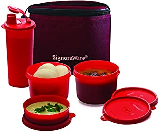 Signoraware Combo Medium Executive Lunch with Bag Deep Red