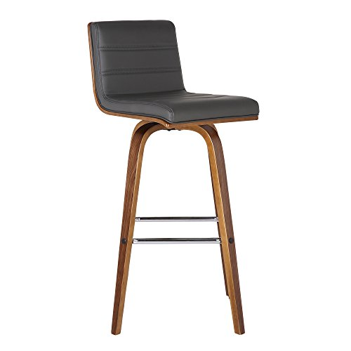 Armen Living Vienna Brown Size Color Options Kitchen and Dining Counter Height Barstool, 26' Bar, Grey/Walnut