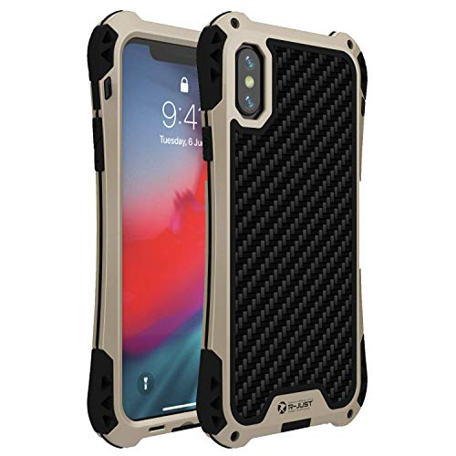 iPhone Xs Max Case,R-JUST Outdoor Sports Full-Body Aluminum Alloy Metal Cover Silicone Layer Dustproof Shockproof Case for iPhone Xs Max 6.5