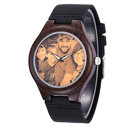 Relojes de Madera Hombres Mujeres Grabado Mensaje Foto Personalizada Relojes de Pulsera Reloj de Pulsera de sándalo Negro