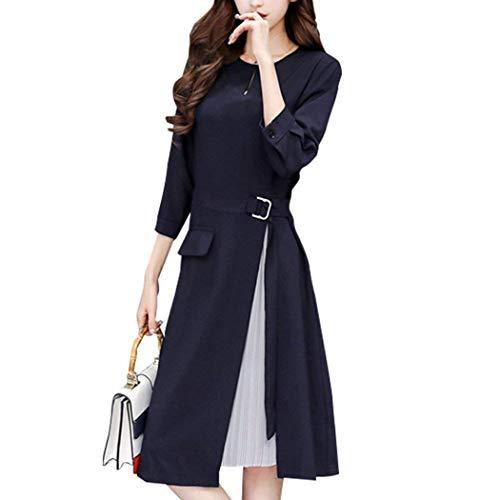 Mikisanno ワンピース Aライン フォーマル ドレス 上質 切替 膝丈 フィット 着やせ 体型カバー ベルト付き七分袖 シフォン プリース 付き