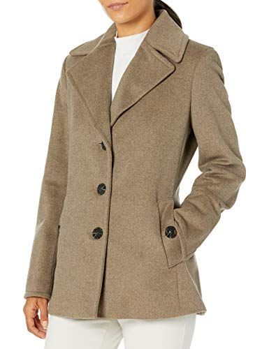 Calvin Klein Petite Womens Double Breasted Peacoat, Oat, 4P