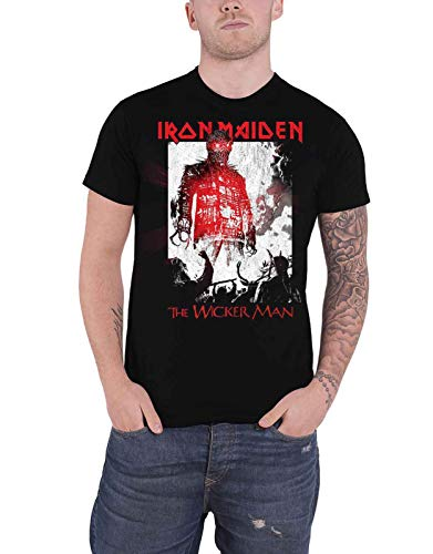 Iron Maiden T Shirt The Wickerman Smoke Band Logo Official Mens Black L