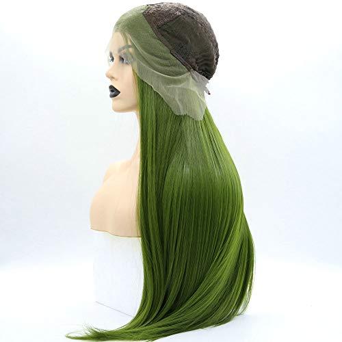 SereneWig Perücke, 66 cm, lang, glatt, Pastellgrün, Drag Queen Green Perücke, Lace-Front-Perücke, Synthetik, für Damen, Cosplay