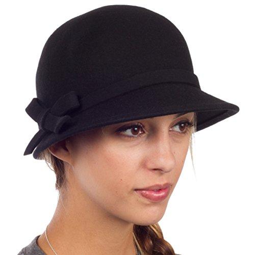 Sakkas 0621LC - Womens Vintage Style Wolle Cloche Eimer Winter Hut mit Ribbon Bogen Accent - Schwarz/One Size