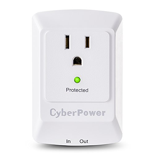 CyberPower CSP100TW Professional Surge Protector + TEL Protection, 900J/125V, 1 Outlet, Wall Tap Plug