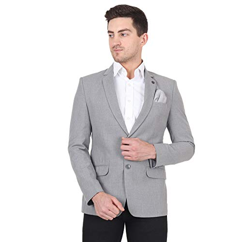 EDZE Metty Fabric Men's Regular Fit Blazer for Casual Comfortable Blazer for Boys, Summer and Winter Wear (Grey)
