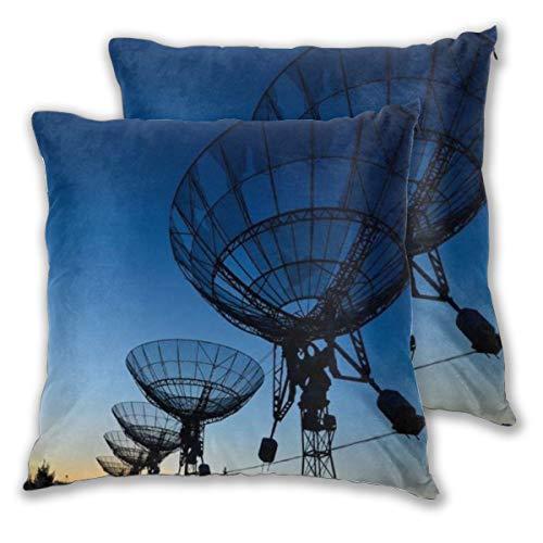 DECISAIYA Funda de Cojín Suave,Observatorio Noche Datos de Instrumentos Científico Óptico en Radio Telescopio Ciencia,Funda de Almohada Cuadrado para Sofá Cama Decoración para Hogar 50x50cm,Set de 2
