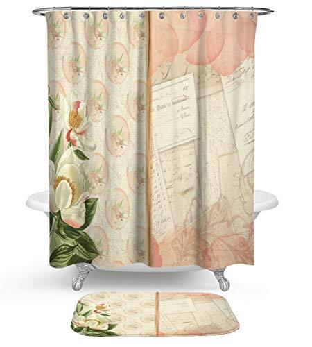 KISY Shabby Chic roze rozen douchegordijn badkamerset, oude bloemen oude envelop handkaart meeldauw weerbestendige stof douchegordijn met zachte katoenen badmat