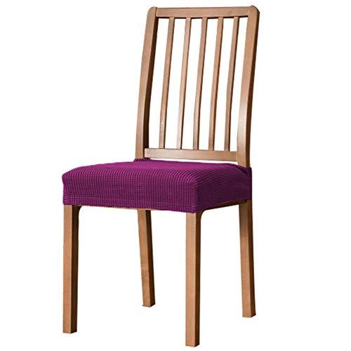 XDKS Funda para asiento de silla de comedor, funda de cojín de jacquard elástica suave para comedor, cocina, lavable y extraíble (juego de 4 unidades), color morado