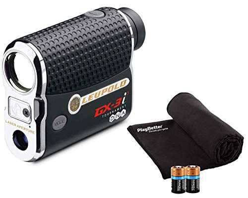 Leupold GX-3i3 Golf Rangefinder Bundle I Includes Golf Rangefinder (Non-Slope) with Carrying Case, PlayBetter Microfiber Towel and Two (2) CR2 Batteries | PinHunter 3