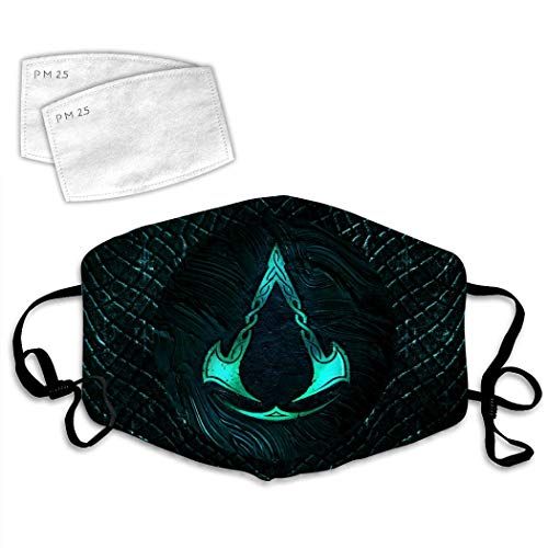 A-ssassins Cre-ed Val-halla Logo 3D Mouth Face Cover and 2 Filters,Facial Mouth Cover Adjustable Elastic Strap