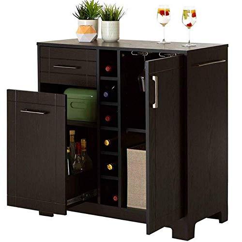Bar Buffet and Storage Cabinet Holds 6 Bottles Wine Rack 12 Liquor Drawer Adjustable Shelf Glass Storage Black Wooden Modern Mini Bar Serving Contemporary Unit Space Prepare Drinks &eBookby BADAshop