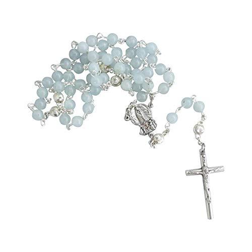 Zinngeschenke großer Rosenkranz mit 59 Perlen, gefertigt aus echtem Aquamarin, sehr Edel, in Handarbeit gekettelt, aus eigener Herstellung. EIN Unikat zur Geburt, Taufe und Kommunion, Länge: 49 cm