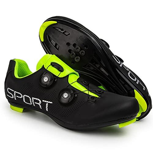 ZDERT Road Cycling Shoes for Men Air Cycling Shoe High Hardness Sole Cycling Shoes Urban Riding Shoes Anti-Slip Outdoor Trekking Hike Shoes,36 Green