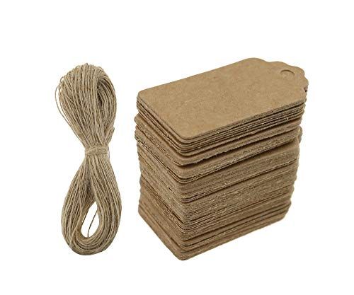 100pcs Kraft Paper Gift Tags, 4x2cm Blank Brown Label Tags Wedding Birthday Gift Luggage Tag Card with 20 Meters Jute Twine