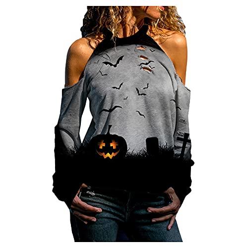 VEMOW Camiseta de Manga Larga de Halloween para Mujer Creativo Blusa Camisa Agujero Hueco con Estampado de Calavera sin Tirantes Otoño Pullover Tops Casual Jersey Sudadera Original tee (C Negro, S)