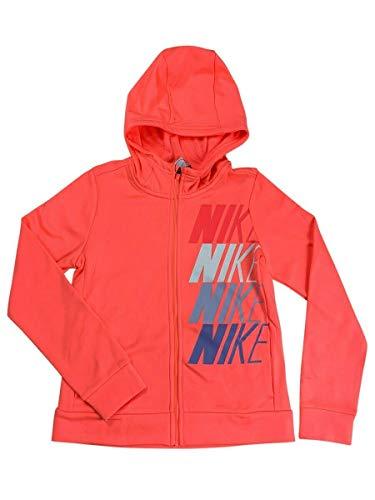 Nike Girls Dri-Fit Therma Full Zip Hoodie Sweater Shirt Pink CJ4374 (Large)