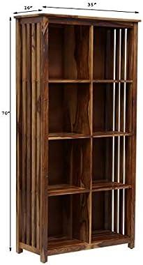 Angel Furniture Solid Sheesham Wood Large Vertical Bookshelf Strip Design (Standard, Honey Finish)