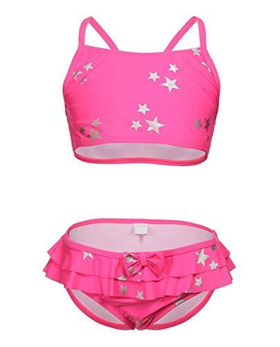 i-DRAWL Traje de baño de Dos Piezas para niños con Estampado de Estrellas y Parte Inferior con Volantes, Bikini para niños de 6 a 14 años, Infantil, Star, XL(12-14Y)