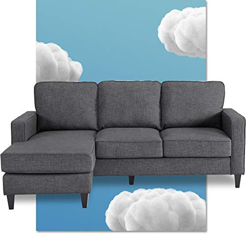 Serta Harmon Reversible Sectional Sofa Living Room, Modern L-Shaped 3 Seat Fabric Couch, Square Arm, Gray