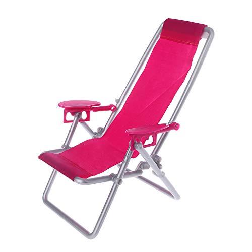 Exing Klappstuhl für Puppen, Liegestuhl, Strandliege, für Puppenhaus, Spielzeug, Miniaturen, Geschenke für Zuhause für Kinder (wie abgebildet)