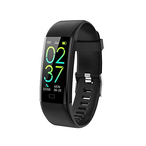 Pulsera Inteligente de Actividad,Pulso, frecuencia cardíaca, oxígeno en sangre, alarma de temperatura corporal alta, pulsera deportiva, color negro,Podómetro Monitores de Actividad Impermeable