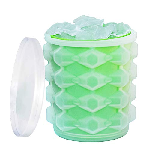 New Ice Cube Maker Silicone Bucket Mold Cooler With Lid Indoors/Outdoors Use Makes Small Nugget Ice Chips for Soft Drinks Beverage Wine Beer Whiskey Cocktail Safe Healthy BPA Free Ice Tray Cylinder