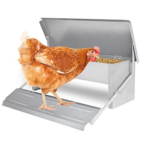 VINGO 5KG Hühner Futterspender Tröge, Futterautomat mit Deckel, Hühner Futtertrog, Fußpedal selbstöffnender Futtertrog, wasserdichter, , rattenfester, Futtertröge, für Hühner, Enten, Puten