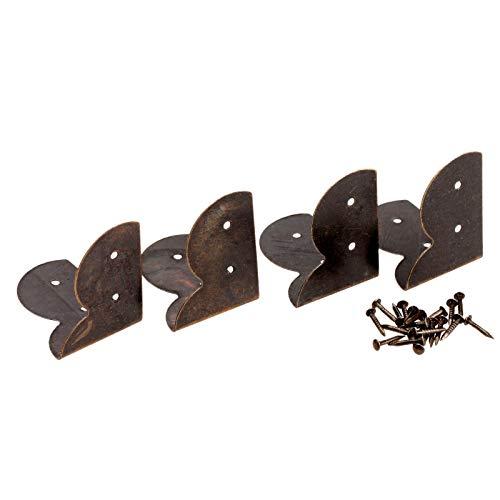 Die Halterung ist auf rechten Winkeln und Ecken befestigt 12st antike Bronzeschmuckschatulle Holz-Kasten Füße Bein Eckenschutz Dekorative ECKHALTERUNG Möbelbeschläge 30 * 30 * 22mm