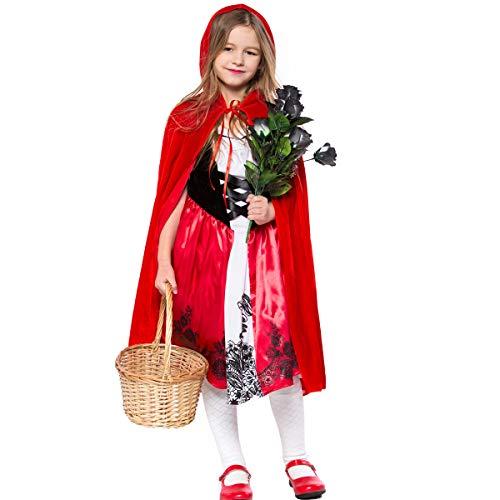A/B Niñas Caperucita Roja Disfraz Disfraz de Disfraz de Cosplay Halloween Navidad Vestido+Cape Outfit