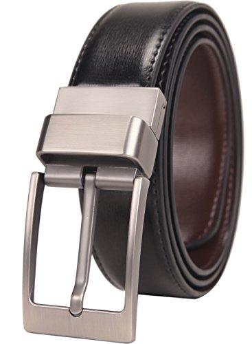 Beltox Fine Men's Dress Belt Leather Reversible 1.25' Wide Rotated Buckle Gift...