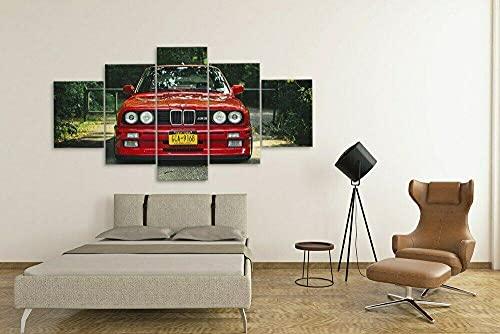 WUHUAGUO Cuadro sobre Lienzo 5 Partes Coche Deportivo Retro M3 Rojo Imprimir En Lienzo HD Cuadros para Dormitorios Modernos,Marco De Madera 150X80Cm Listo para Colgar