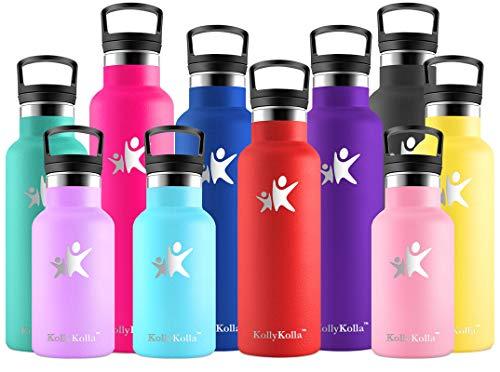 KollyKolla Botella de Agua Acero Inoxidable, Termo Sin BPA Ecologica Reutilizable, Botella Termica con Pajita y Filtro, Water Bottle para Ninos & Adultos, Deporte, Oficina, Yoga, (350ml Rojo)