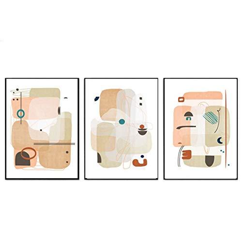 LKVSW Lienzo de calidad HD 3 piezas Póster de impresión abstracta geométrica pastel arte moderno abstracto lienzo pintura decoración del hogar imágenes 60x80cm